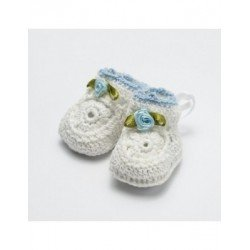 Booties crocheted blue embellished tie P. SWEET