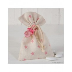 Bag cotton stars pink pacifier 5 peladillas choc.*