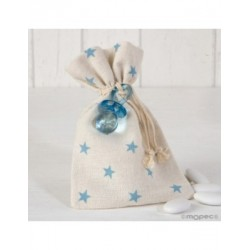 Bag cotton blue stars pacifier 5 peladillas choc.*