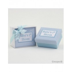 Box my 1st. shoes vichy blue with gift box and bow