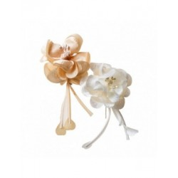Broche flor marfil/beige 17cm., min. 20