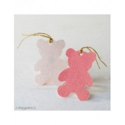Hanging textile decorative teddy bear pink,8cm. min.6