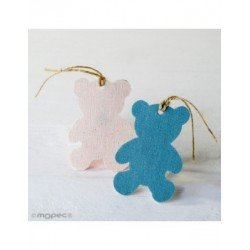 Hanging textile decorative teddy bear, blue,8cm. min.6