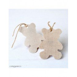 Hanging textile decorative teddy bear, beige,8cm. min.6