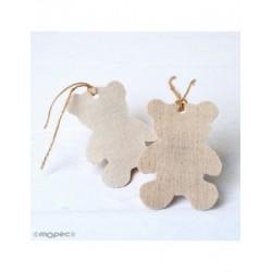 Penjant tèxtil decoratius ós de peluix, beix,8cm. min.6