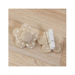 Clamp flower color beige with polka-dot ivory 4,5x4,5 cm., min.6