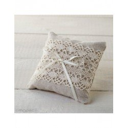 Pincushion/pin cushion 10x10cm with lace ivory and tie, min.2