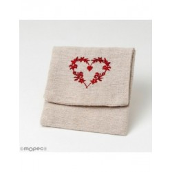 Guardatodo beige with hearts embroidered 11x10cm., min.10