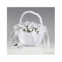 Basket white tulle 36 on white flower