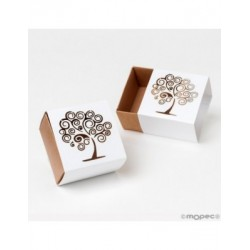 Box paper square tree of life, 6x4x6cm. min.25