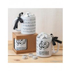 Cup ceramic musical Score in gift box 6bombones