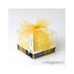 Candle aromatic with ribbon fragrance lemon 6X6cm.