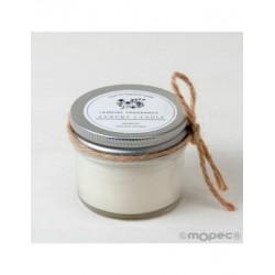 Candle scent jasmine in a jar,cord incl. Ø6,5x6cm.min.6