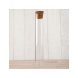 Tubo cristal transparente con tapón de corcho 12,5cm, min.48