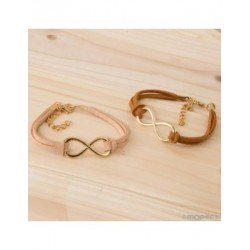 Bracelet leather infinity symbol assortment 2colores, min.4