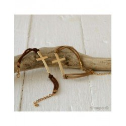 Bracelet gold cross stda. beige and brown, min.4