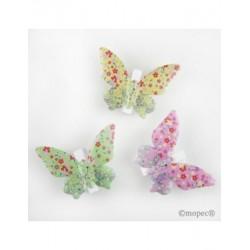 Clips papallona multicolor metàl·lics de 3 colors, min3