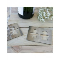 Coasters silhouette boy and girl 11x8cm P. SWEET