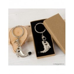 Keychain/pendentif dauphin pointeur tactile boîte-cadeau, 3x9,5 cm.