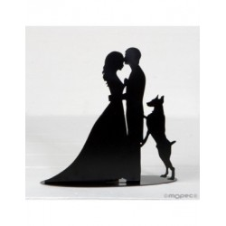 Figure /metal holder cake bride and groom and dog, sailing incl.19cm