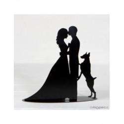 Figura /portavela pastel novios y perro, vela incl.19cm