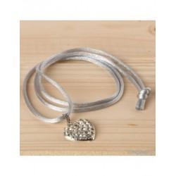 Pendant heart rhinestone with gray ribbon