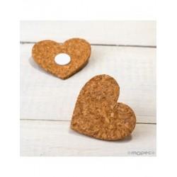 Heart cork with adhesive 6x5,5x0,3cm., min.6