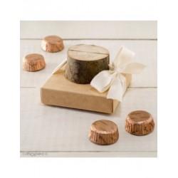 Marcasitios/portafoto tronco madera en estuche 4 torinos