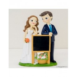 Figura pastel novios Pop&Fun con cartel-pizarra, 21cm.