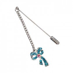 Pin metal chain and loop diamond blue min.12