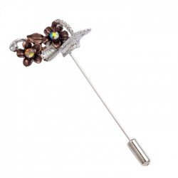 Pin metal small basket brown flowers min.12