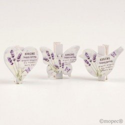 Clamp surt. butterfly,bird,heart, 4x3,5cm Lavender, min 9