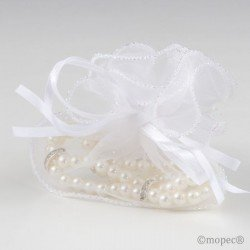 Pearl bracelet in tissue organdí white min.2P.SWEET