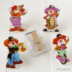 Tweezers wooden clowns 7cm range, min.4 Q. SWEET